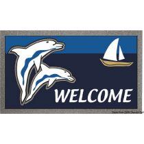 """שטיח כניסה לבית וליאכטה נגד החלקה 40X68 ס""""מ - תוצרת איטליה - """"דולפינים"""""""