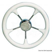 גלגל הגה עם כיסוי דמוי עור לבן