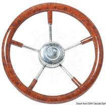 גלגל הגה מהגוני לסירה עם חישור נירוסטה