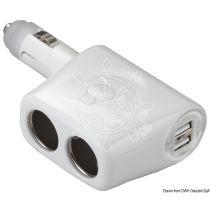 תקע למצת כפול עם כניסות USB