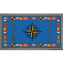 """שטיח כניסה לבית וליאכטה נגד החלקה 40X68 ס""""מ - תוצרת איטליה - """"שושנת רוחות ודגלי קוד"""""""
