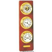 לוח איכותי מעץ מהגוני (אנכי) עם סט מחוונים: ברומטר, שעון, מד לחות/טמפ' BARIGO
