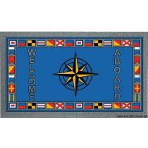 """שטיח כניסה לבית וליאכטה נגד החלקה 50X80 ס""""מ - תוצרת איטליה - שושנת הרוחות ודגלי קוד"""